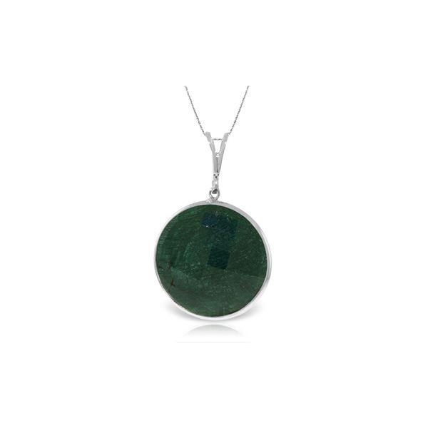 Genuine 23 ctw Green Sapphire Corundum Necklace 14KT White Gold - REF-48K3V
