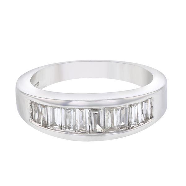 Natural 0.75 CTW Baguette Ring 14K White Gold - REF-141F3M