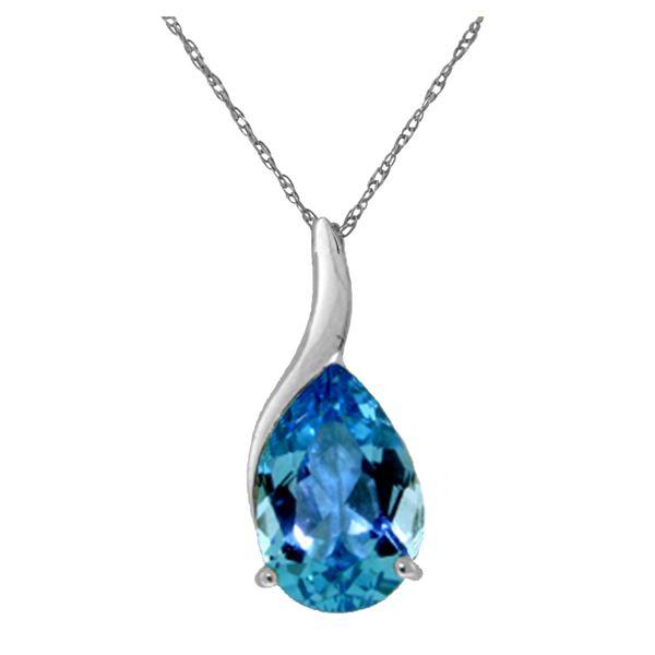 Genuine 4.7 ctw Blue Topaz Necklace 14KT White Gold - REF-31R4P
