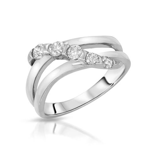 Natural 0.50 CTW Diamond Ring 14K White Gold - REF-64F8M