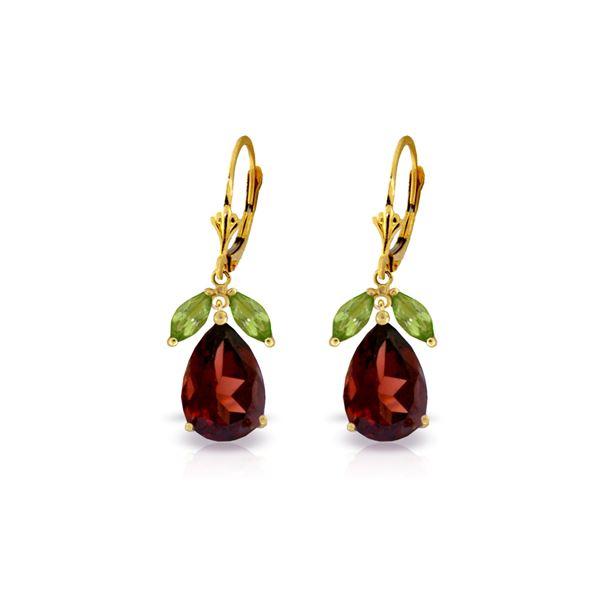 Genuine 13 ctw Garnet & Peridot Earrings 14KT Yellow Gold - REF-71M3T