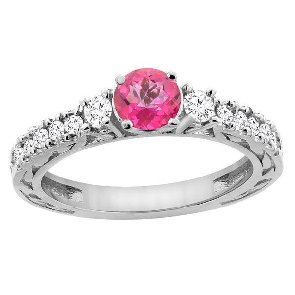 1.35 CTW Pink Topaz & Diamond Ring 14K White Gold - REF-79W5F