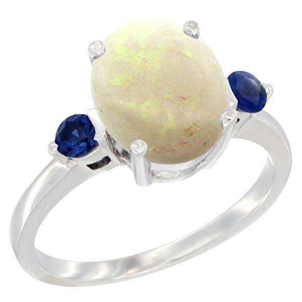 1.65 CTW Opal & Blue Sapphire Ring 14K White Gold - REF-31H7M
