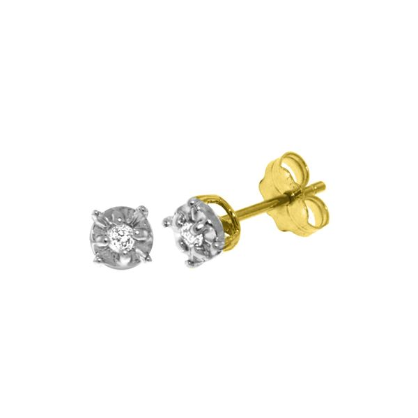 Genuine 0.06 ctw Diamond Anniversary Earrings 14KT Yellow Gold - REF-24T3A