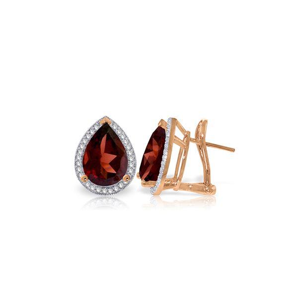 Genuine 8.12 ctw Garnet & Diamond Earrings 14KT Rose Gold - REF-120A8K