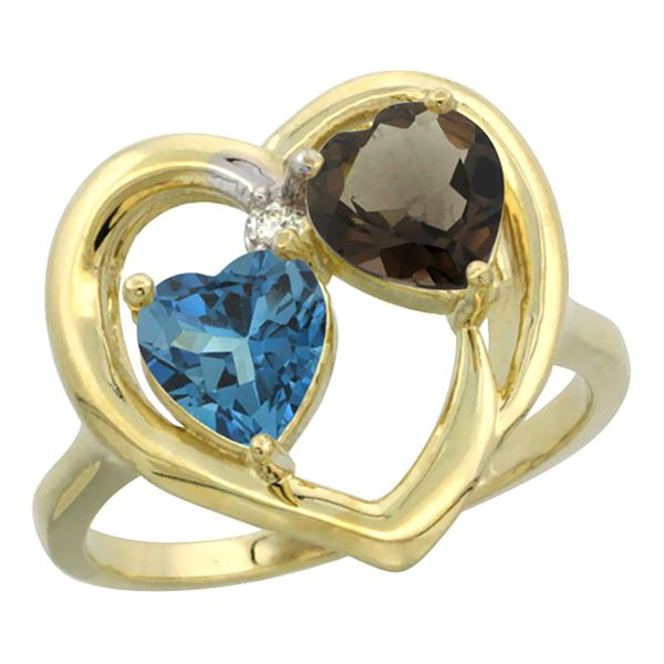 2.61 CTW Diamond, London Blue Topaz & Quartz Ring 14K Yellow Gold - REF-34N2Y
