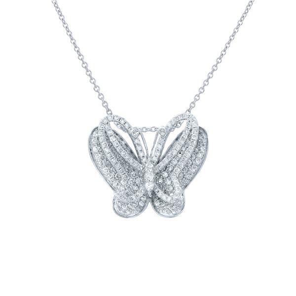 Natural 1.11 CTW Diamond Necklace 14K White Gold - REF-107K3R