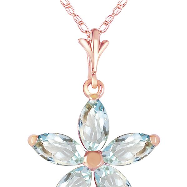 Genuine 1.40 ctw Aquamarine Necklace 14KT Rose Gold - REF-30V3W