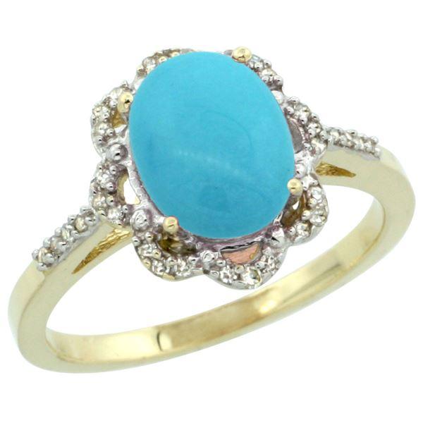 1.86 CTW Turquoise & Diamond Ring 10K Yellow Gold - REF-38X9M