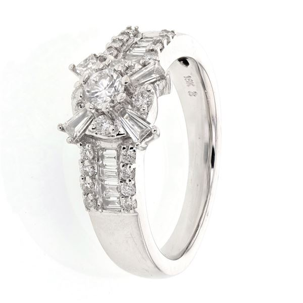 Natural 0.86 CTW Diamond Ring 18K White Gold - REF-145N8Y