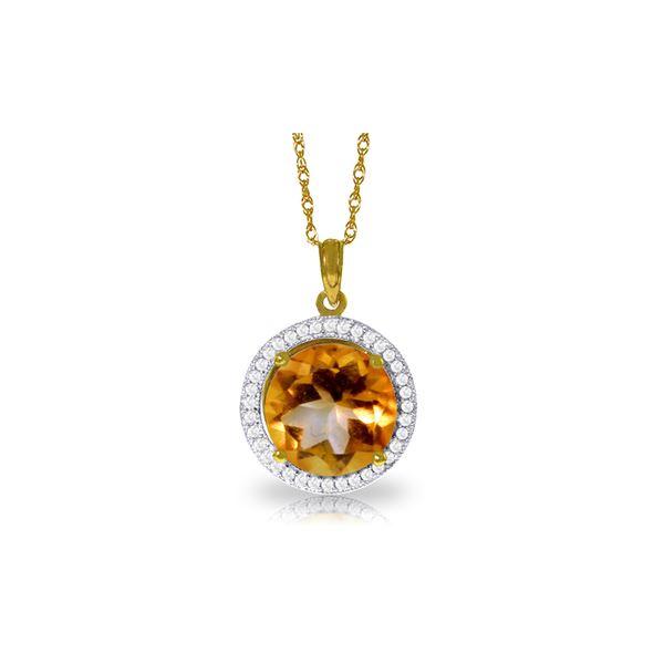 Genuine 6.2 ctw Citrine & Diamond Necklace 14KT Yellow Gold - REF-70P6H