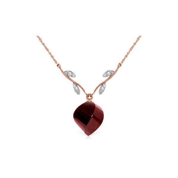 Genuine 15.27 ctw Ruby & Diamond Necklace 14KT Rose Gold - REF-46R7P