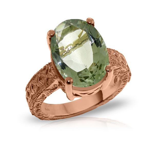 Genuine 7.5 ctw Green Amethyst Ring 14KT Rose Gold - REF-125A9K