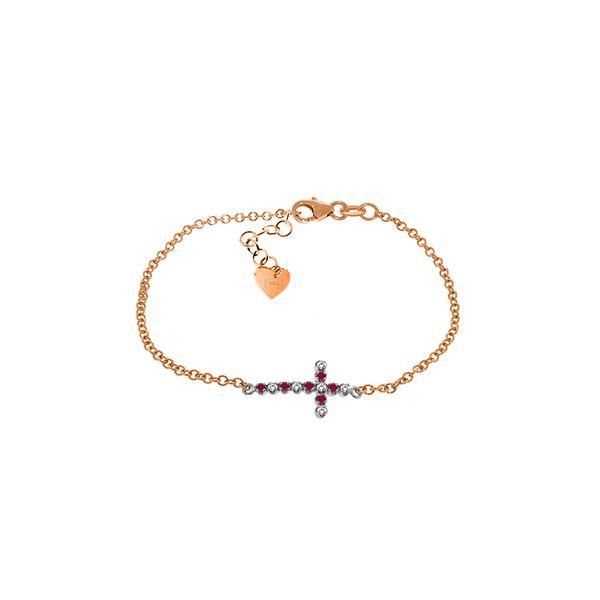 Genuine 0.24 ctw Ruby & Diamond Bracelet 14KT Rose Gold - REF-57R6P
