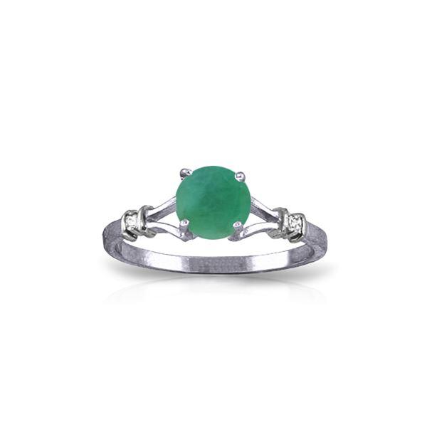 Genuine 0.62 ctw Emerald & Diamond Ring 14KT White Gold - REF-33F6Z