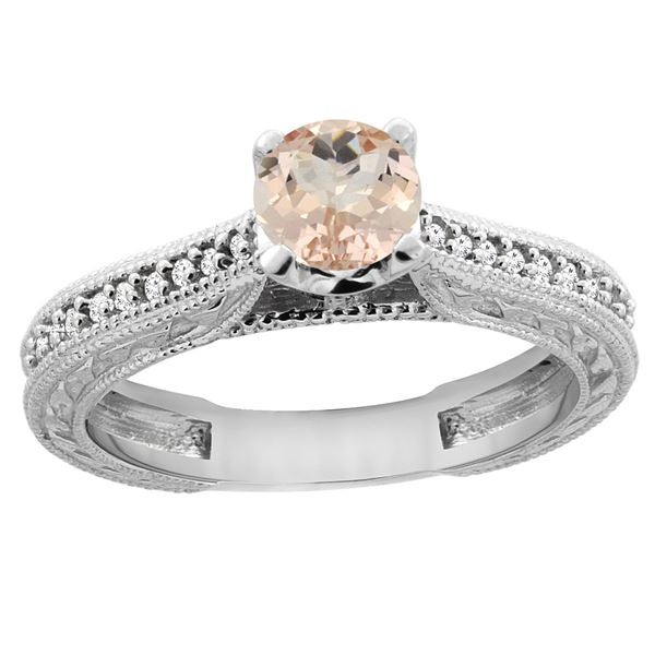 0.59 CTW Morganite & Diamond Ring 14K White Gold - REF-54W7F