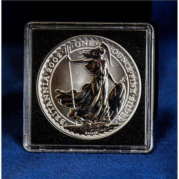 RARE 2002 GREAT BRITAN 1OZ SILVER BRITANNIA COIN