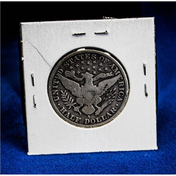 """1905S USA SILVER """"BARBER HEAD"""" 50 CENT COIN"""