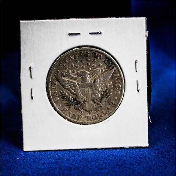 """1906S USA SILVER """"BARBER HEAD"""" 50 CENT COIN"""
