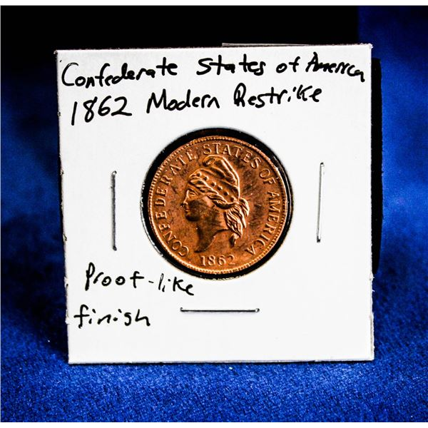 1862 MODERN RESTRIKE OF CONFEDERATE STATES 1 CENT