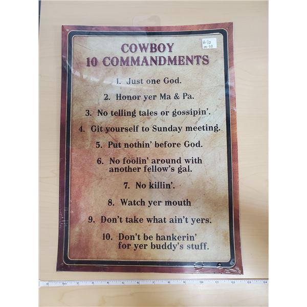 """TIN SIGN 'COWBOY 10 COMMANDMENTS' 12 X 17"""""""