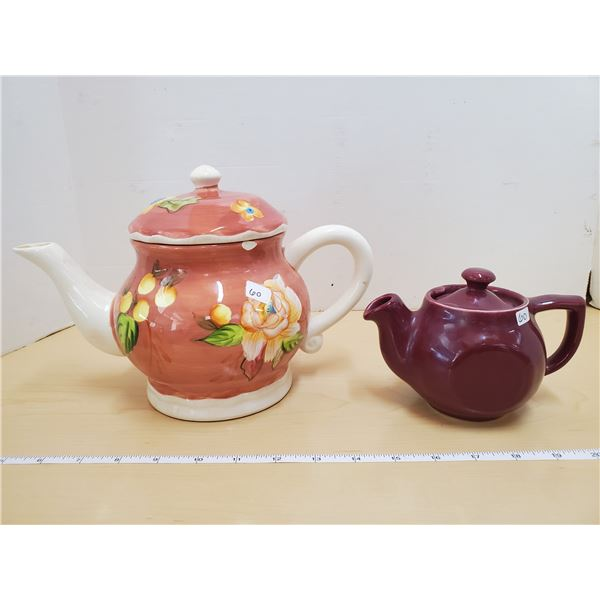 2 TEA POTS (ONE WITH CHIP)