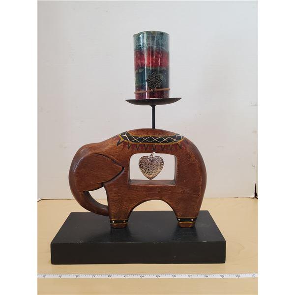 ELEPHANT CANDLE HOLDER & CANDLE