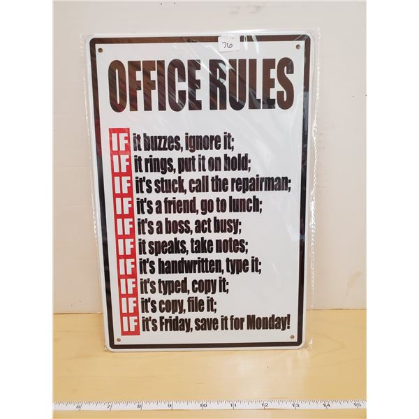 TIN SIGN 'OFFICE RULES'