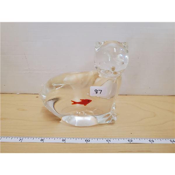 GLASS CAT W/ GOLDFISH PAPERWEIGHT