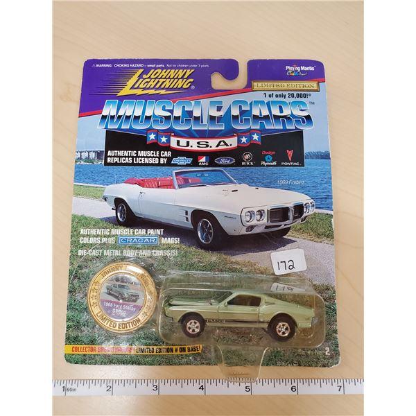 Johnny Lightning ERROR package It has the Firebird cardboard but the mustang car