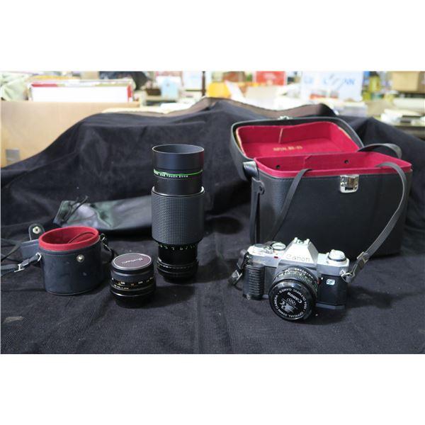 Vintage Canon Camera & Lenses + Bag