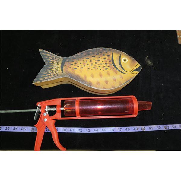 Caulking Gun & Fish Shaped Box