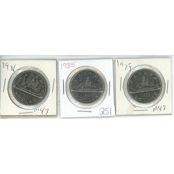 3 X Canadian Nickel Dollars 85' 85' and 81'
