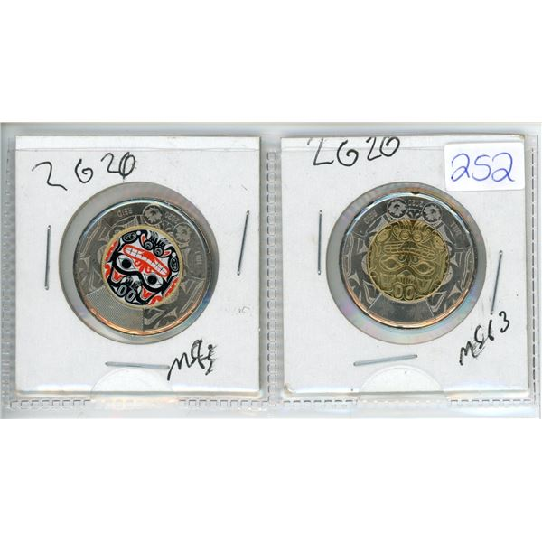 2 X 2020 Bill Reed Comemorative Toonies (One is Colorized)