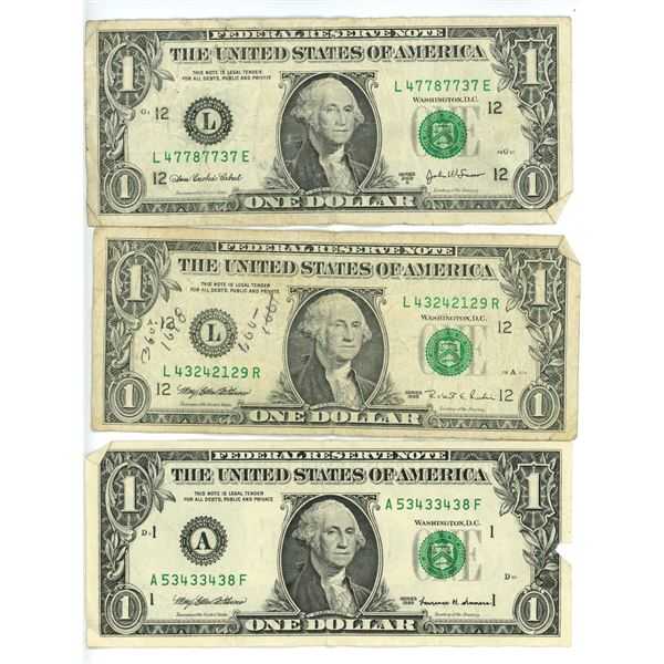 3 X American USD Dollar Bills 99' 95' and 03'
