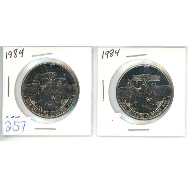 2 X 1984 Comemorative Dollar Coins ( 1534 Jaques Cartier)