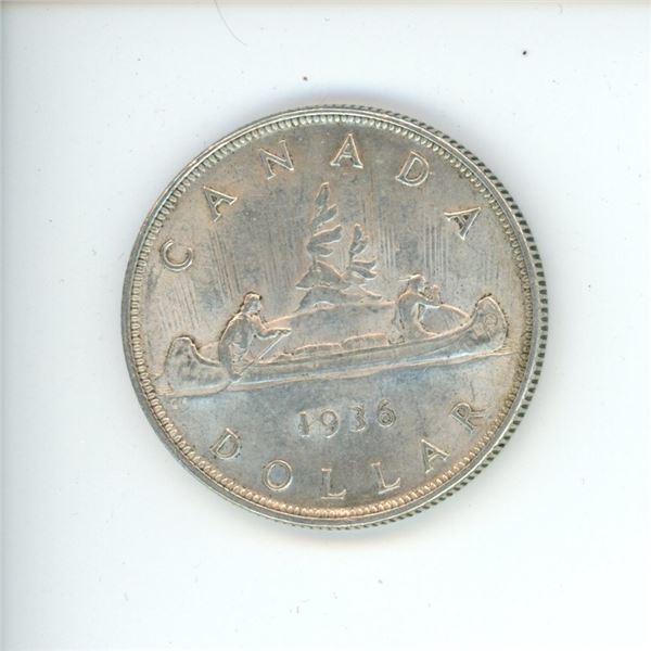 1936 Canadian Silver Dollar Coin