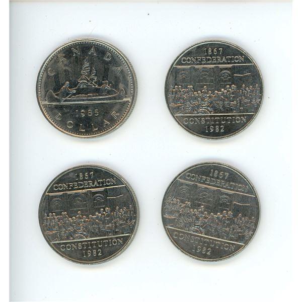 4 X Nickel Dollars (3 X 82' Confederation and 1 X 1985)
