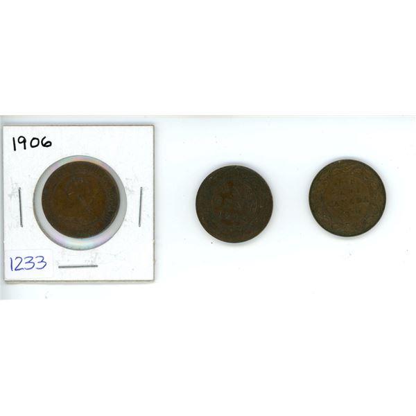 3 X Canadian 1 Cent Piece, 1902, 1906, 1920