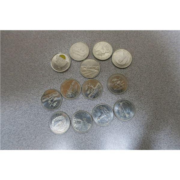 13 Canadian Comemorative Quarters