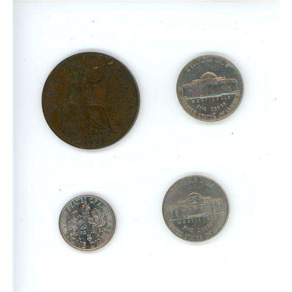 4 coins - 1921 British Penny, 2014 American Dime, 2013 American Nickel, 1964 American Nickel