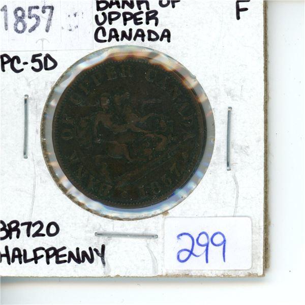 1857 half penny - Bank of upper Canada