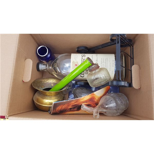 Wisers Bottle & Brass Pot & Misc. Items