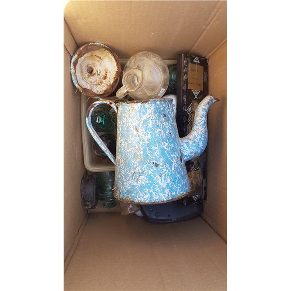 Box of Insulators & Coffee Pot Etc.