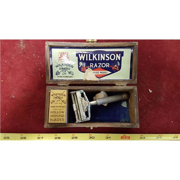 Wilkinson Empire Model Razor In Oak Box With Blades