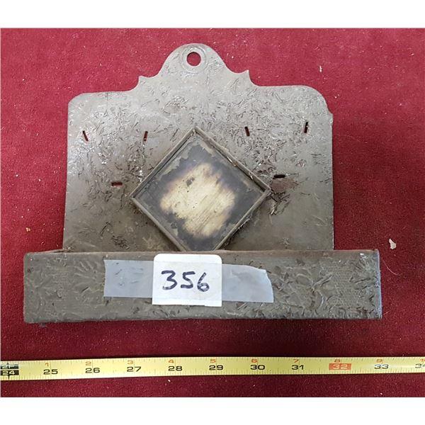 Vintage Metal Wall Mount Comb Vanity Holder With Mirror