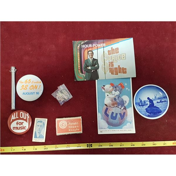 Mix Lot Collectables -Postcards & Buttons & Plates