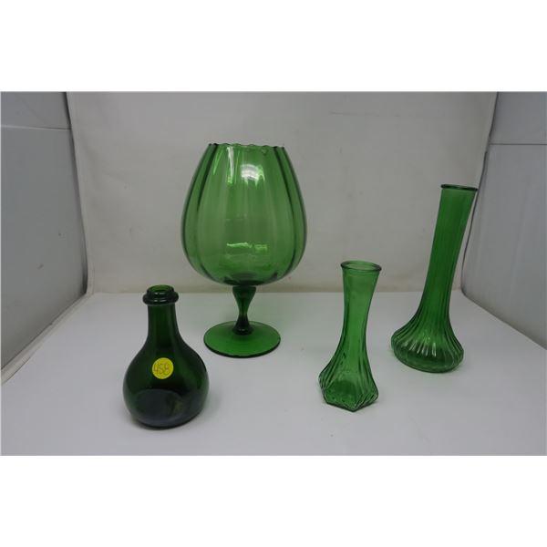 4 Piece Green Glass