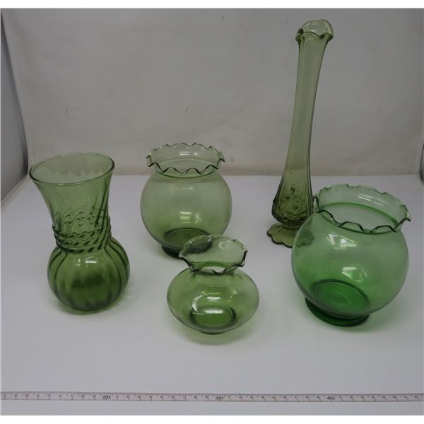 5 Piece Green Glass Continers