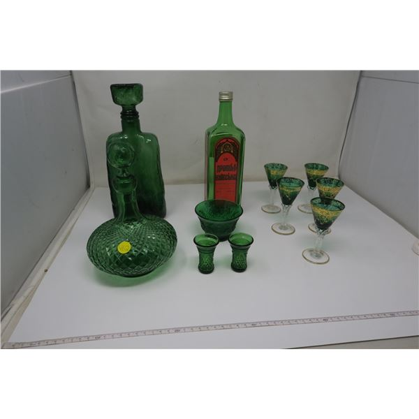 11 Piece Green Glass - some made in Italy